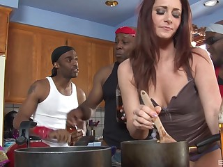 Redhead housewife CiCi Rhodes gangbanged and creampied by black guys