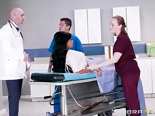 Buxom dark-hued bird with a adorable tat, Mary Jean is luring her doctor's massive man-meat, in his office