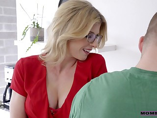 Busty blonde termagant Cory Chase blows cock and gets poked doggy darn great