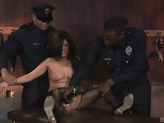 Black cops charge from a dour and suffice for in her tight holes