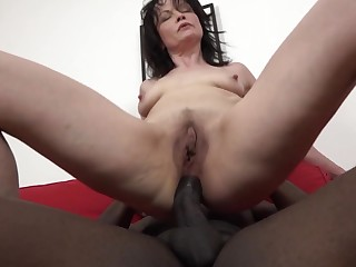 Balls deep interracial anal sexual intercourse with mature pornstar Claudia Dark
