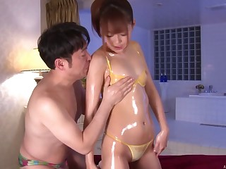 Oiled Ai Asakura with foot amulet pleasured by her injurious husband