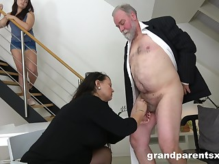 Kinky threesome sexual connection with an old couple and a down in the mouth younger model