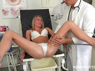 Fresh blonde girl, Claudia Macc is often fucking her doctor in his office, suited for she likes him
