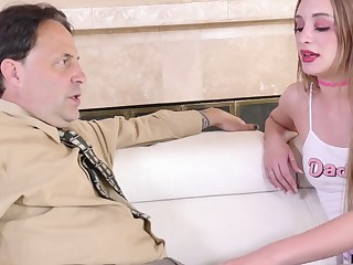 Young starve oneself woman gives her stepdad's cock one on one attention