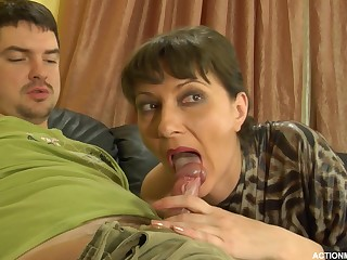 A mature woman gets a shag from a young guy